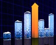 Sníh, akcie, růst, graf